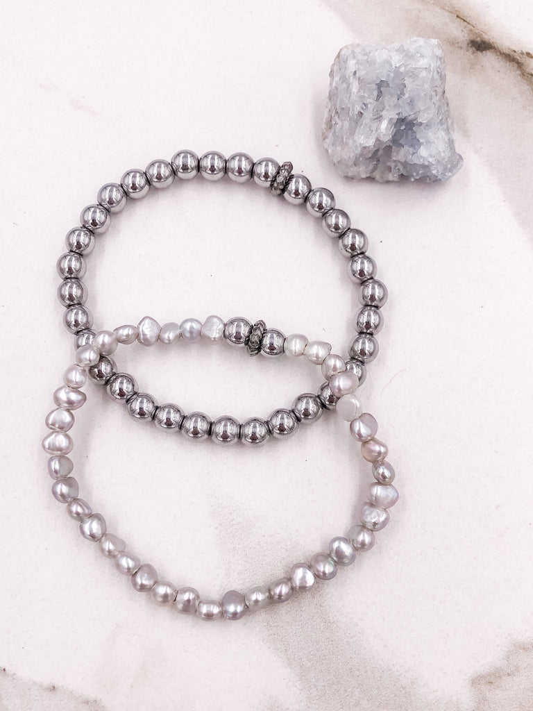 Petite Silver Pearl and Hematite Bracelet Set