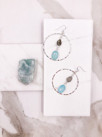 Chalcedony & Pyrite Halo Hoop Earrings