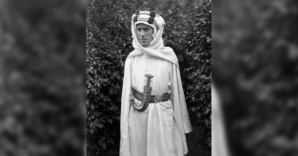 Lawrence wearing the typical Arabian djellaba during his time in the Arab Delegation