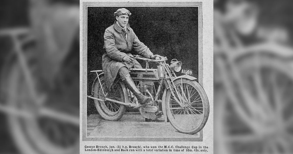 George Brough posing on top one of his first motorcycles after wining the the M.C.C. Challenge Cup.
