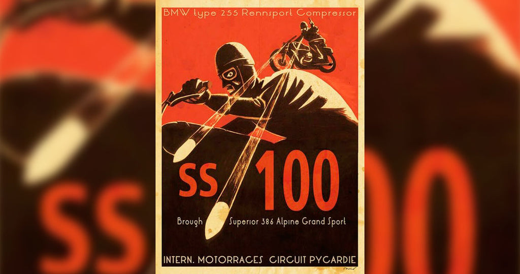 British Propaganda of Brough's SS100 competing with the less powerful German BMW