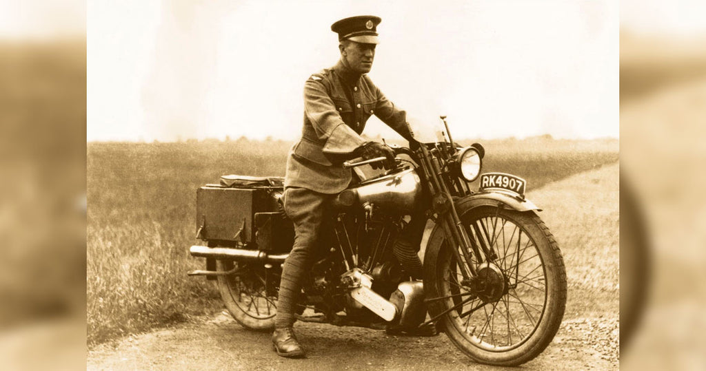 Lawrence epically posing on top of the bike in which he would have his fatal accident