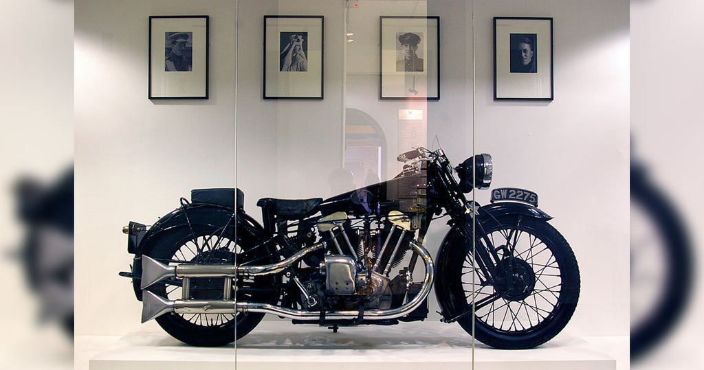 Lawrence's SS100 at a museum after being purchased at an auction for £315,000.