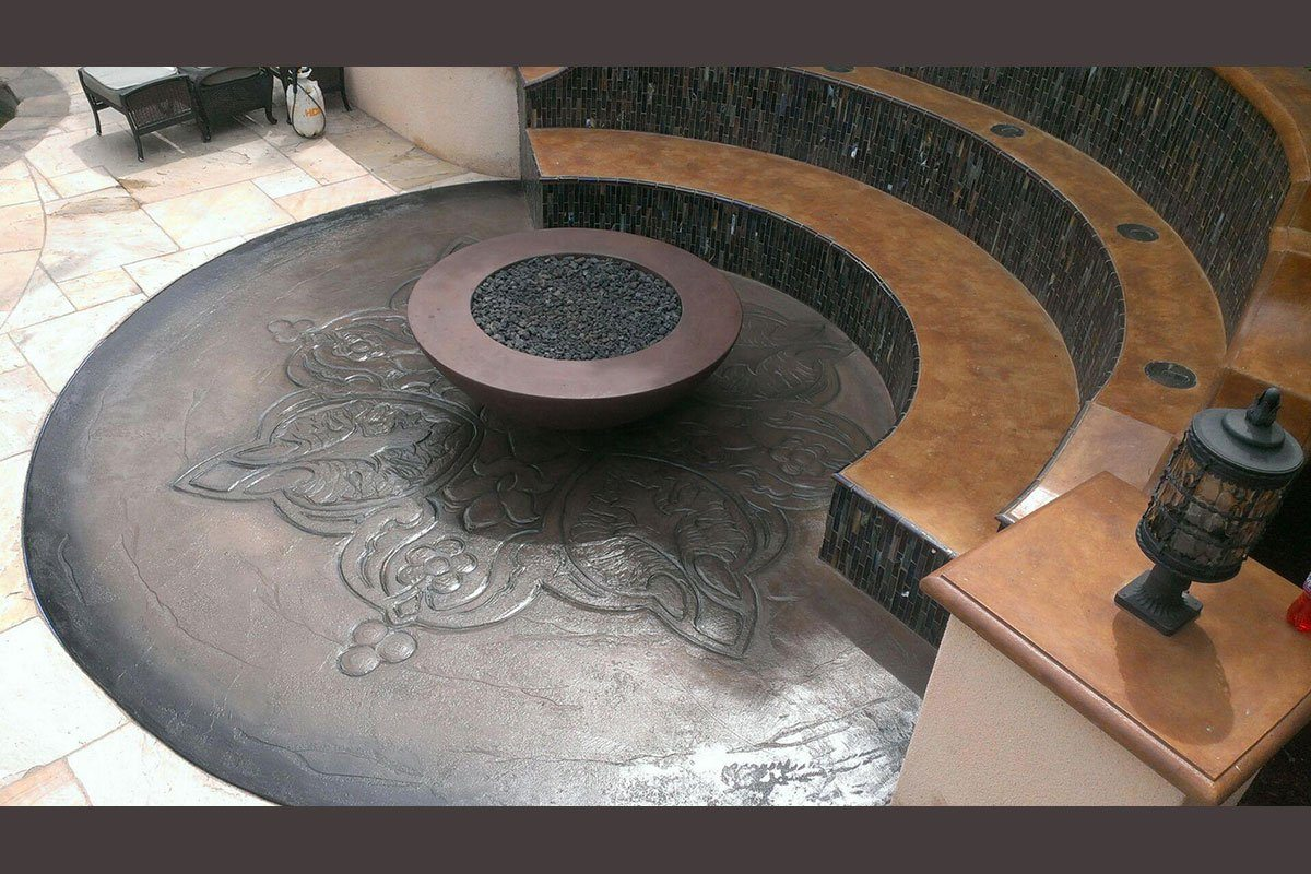 "Simplicity Edge Fire bowl 54"" x18"" -10"" lip Raisin Color Fire Bowls / fire Pits Concrete Creations"