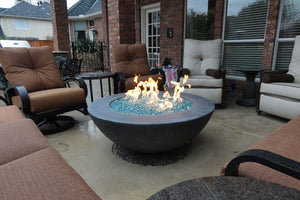 "Simplicity Edge Fire bowl 48"" x18"" -8"" lip Slate Fire Bowls / fire Pits Concrete Creations"