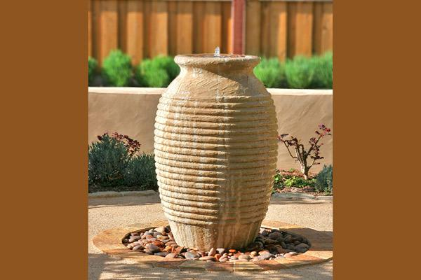 D-Jarrah Ribbed Jar Water Features Concrete Creations