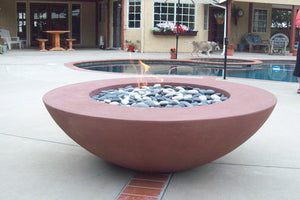 "Simplicity Edge Fire Bowl 60"" x18"" 12"" lip, Rustic Red Fire Bowls / fire Pits Concrete Creations"