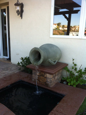 Acropolis Fountain Jars -Sage Green Water Features Concrete Creations
