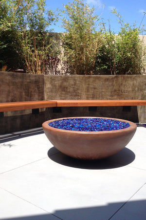 "Simplicity Fire Bowl 37"" x13.5"" Mahogany Acid Fire Bowls / fire Pits Concrete Creations"