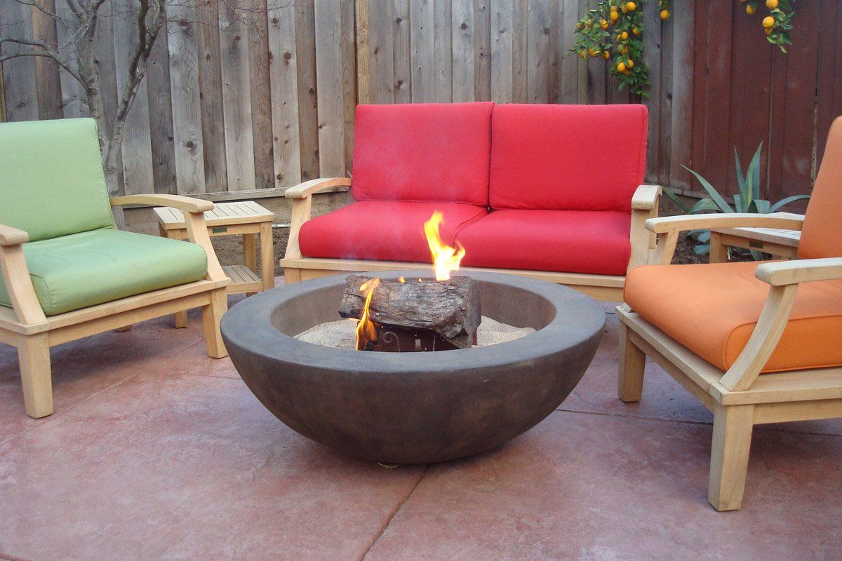 "Simplicity Edge Fire Bowl 40"" x15"" 6"" lip Walnut Acid, fire wood Fire Bowls / fire Pits Concrete Creations"