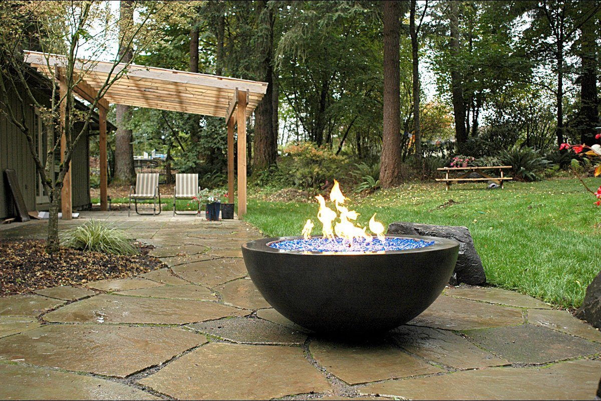 "Simplicity Edge 42"" x 17"" Slate color Fire Bowls / fire Pits Concrete Creations"