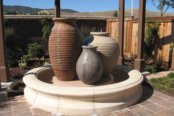 Concrete oil jars ribbed  fountain