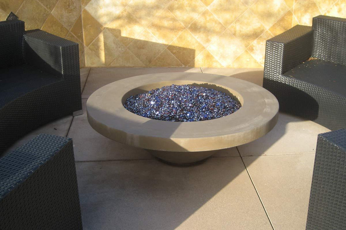 "Contemporary Fire Bowl 48"" x 15"" -9 lip Rattan"