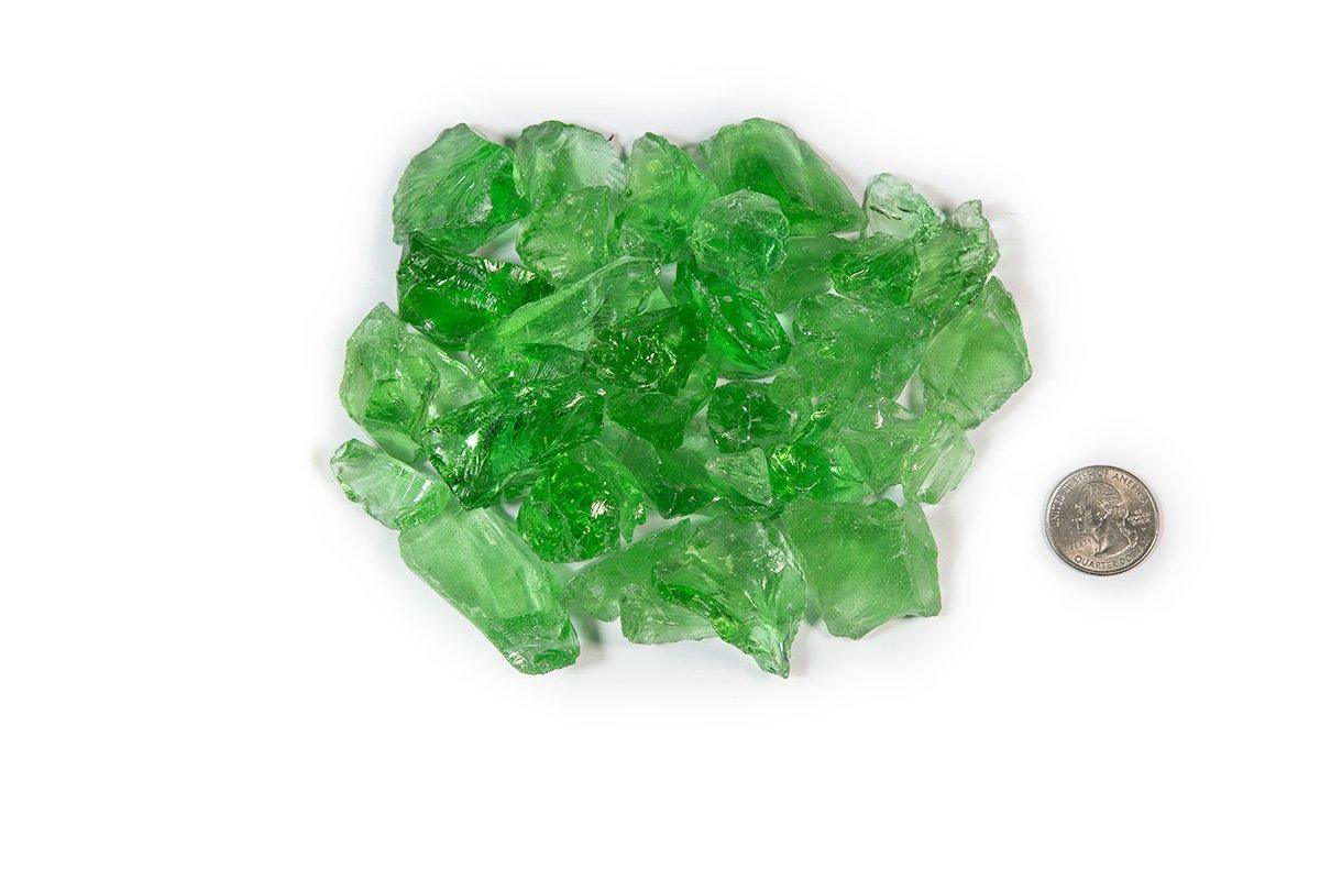 "American Made Fire glass 1/2""-1"" - Crystal Green Fire glass ConcreteCreationsLA"