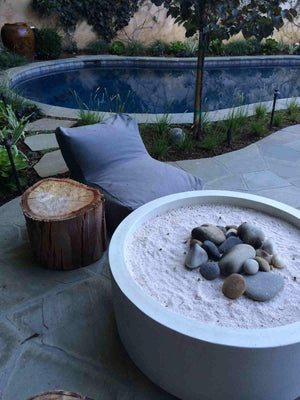 "Cilindro Fire Bowl 40"" x15"" in Dove Gray Fire Bowls / fire Pits Concrete Creations"