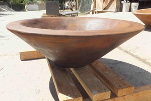 "Asian Wok Fire Bowl #1 31"" x 10"" Mahogany Acid Fire Bowls / fire Pits Concrete Creations"