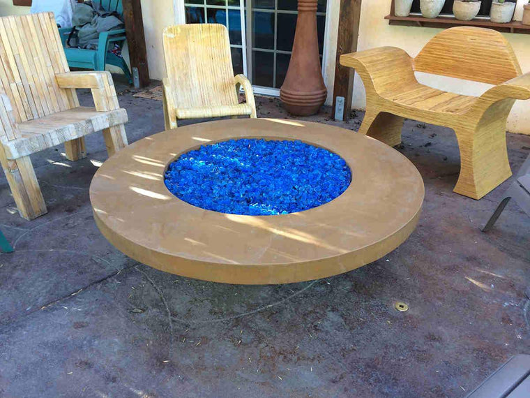 "Contemporary Fire Bowl Table  56"" x 18"" -11"" lip-Spanish Gold Color"