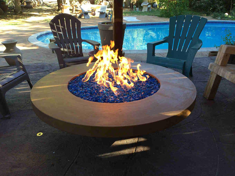 "Contemporary Fire Bowl 56"" x 18"" -11"" lip-Spanish Gold Color"