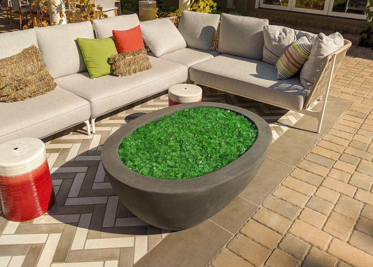 "Ovale fire bowl 36"" x48"" x 18"" h Slate color Standard Lip"