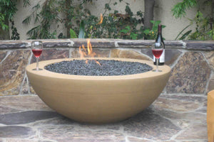 "Simplicity Edge Fire Bowl 40"" x15"" 5"" lip, Spanish Gold Fire Bowls / fire Pits Concrete Creations"