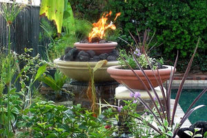 Water and Fire- Meron Flat Ribbed Fire Bowls / fire Pits Concrete Creations