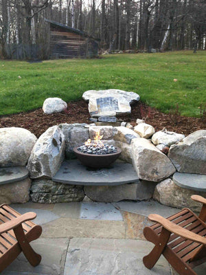"Simplicity Fire Bowl 30"" x12"" - Java Color Concrete Creations"