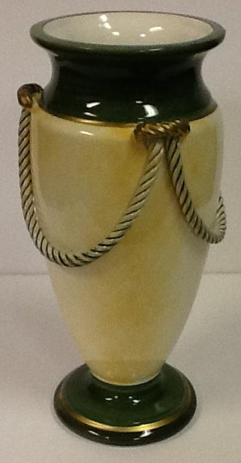 Italian hand painted ceramic vase light yellow & green rope