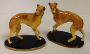 Italian hand painted porcelain  pair of whippets