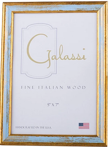 Fine italian wood traditional blue and gold frame