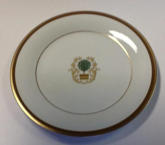 Pickard charlotte moss ultra white & gold topiary motif salad plate