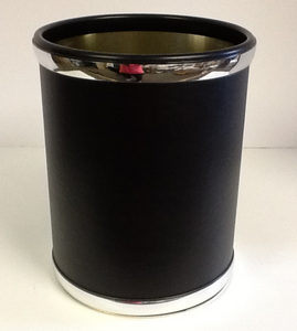 Leather Black And Chrome Waste Basket