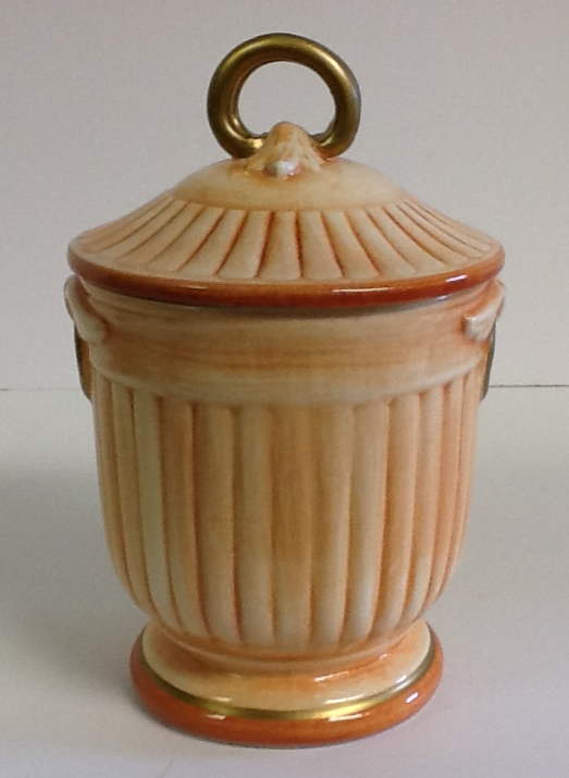 Italian Hand Painted Ceramic Covered Jar Rust