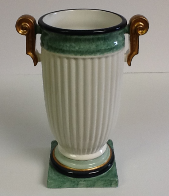 Ceramic Hand Painted Italian White & Green With Gold Handles Vase