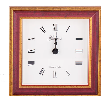 Italian wood alarm clock red & gold