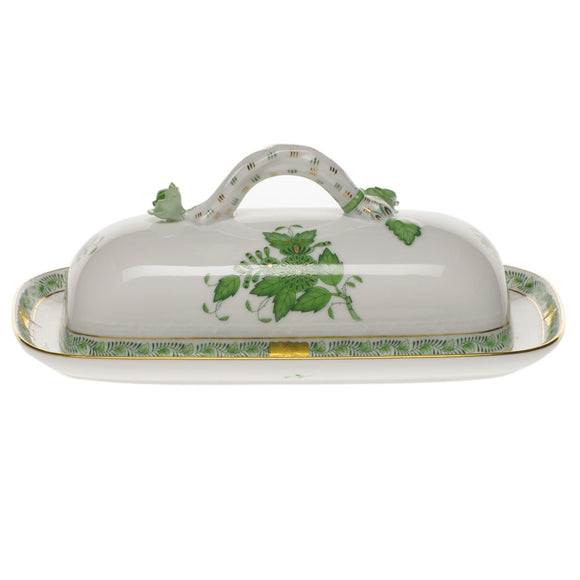 Herend Chinese Bouquet Green Butter Dish With Branch