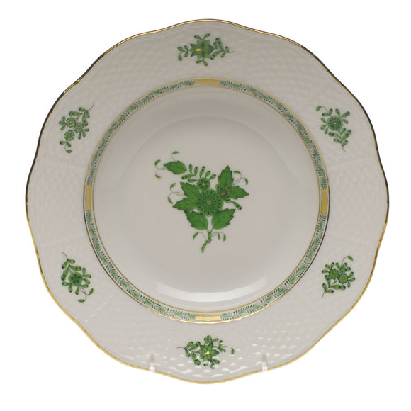Herend Chinese Bouquet Green Rim Soup Plate