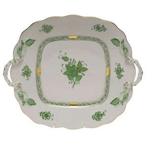 Herend China Chinese bouquet greens square cake plate with handles