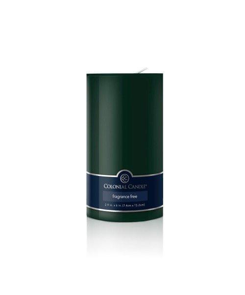 Pillar evergreen unscented candle