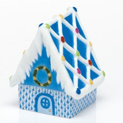 Herend Figurines Gingerbread House Blue