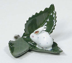 Herend Figurines Rabbit On Leaf Place Card Holder