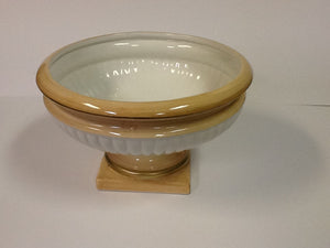 Italian ceramic footed bowl coral and white