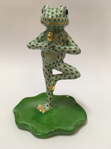 "Herend Figurines Yoga Frog In Tree Pose Green 2.75""L x 3.5""H"