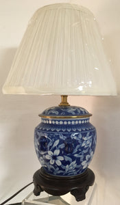 Lamp Porcelain Blue And White With Flowers