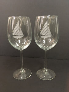 Sail Boat Wine Glass Pair