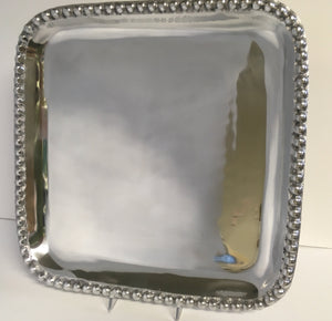 Metalware Tray Square with Beading 14""