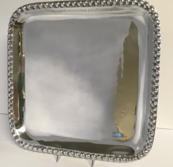 Metalware Tray Square with Beading 14