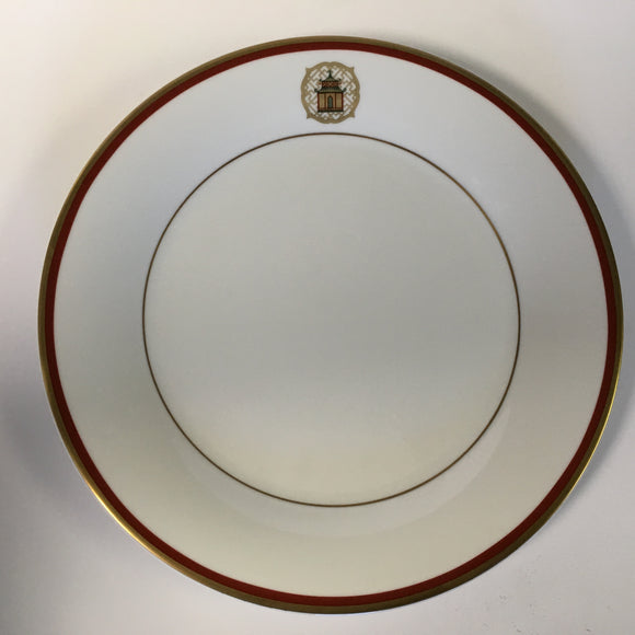 Pickard Charlotte Moss Pagoda motif dinner plate gold and red