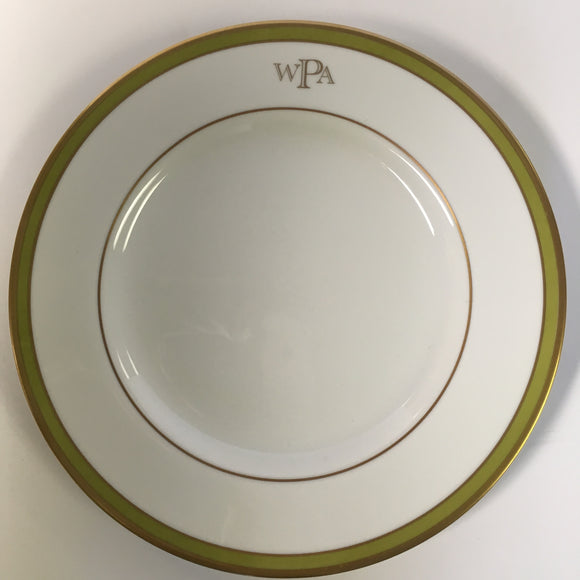 Pickard Signature ultra white green and gold monogram salad plate