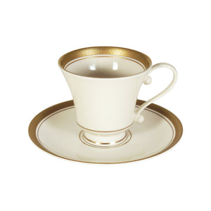 Pickard Palace Ivory & Gold Footed Cup & Saucer