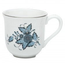 Herend Chinese Bouquet Turquoise & Platinum Mug